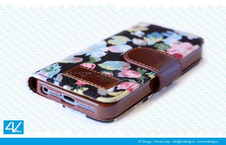 Custodia Trendy Flower con sfondo nero per iPhone 5-5s
