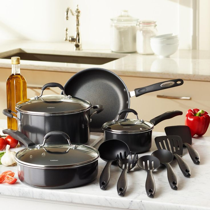 Cuisinart® Cookware: Get cookin' with our amazing nonstick pots and pans by Cuisinart. This durable cookware features aluminum design for quick, even heat circulation and optimal results. Plus, this great set includes handy utensils for all your kitchen needs.