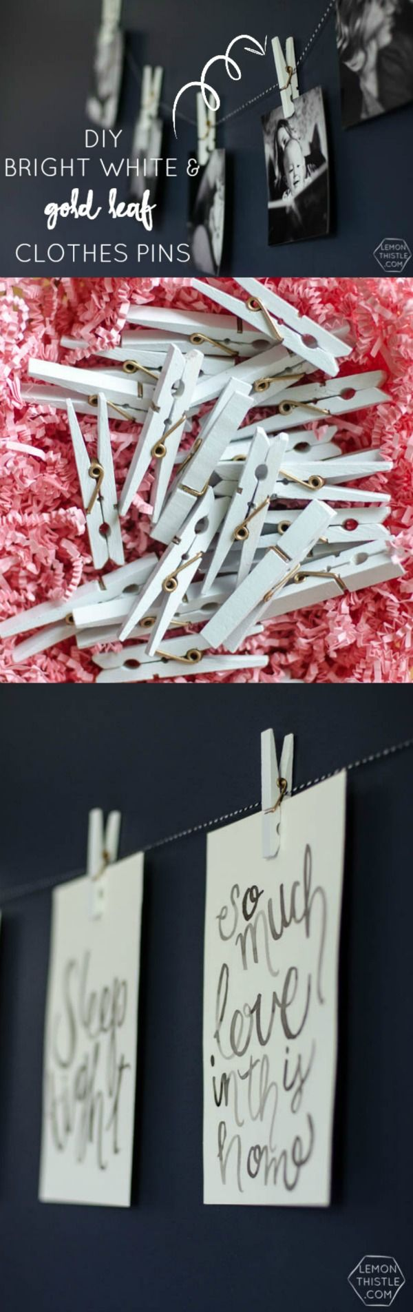 DIY Crafts | White and gold coil clothespins | TodaysCreativeBlog.net