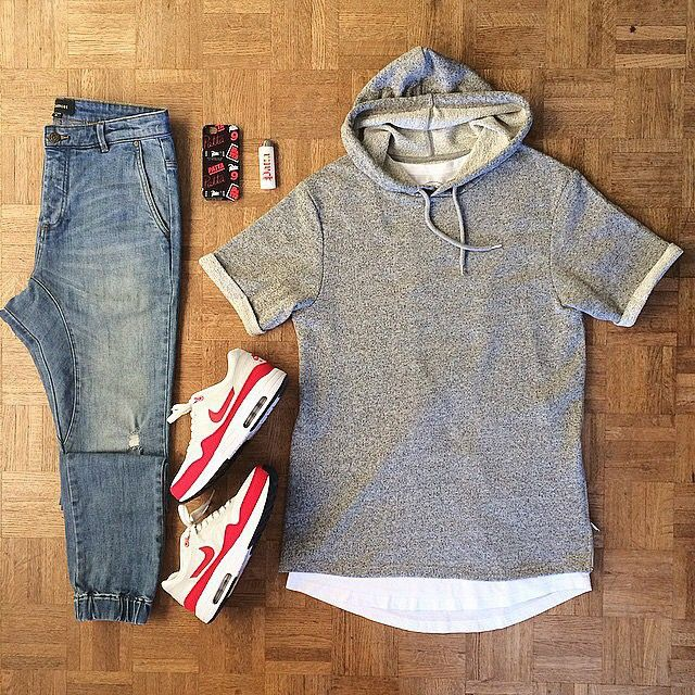 Longline Sobreposta Cinza Calça Jogger Nike Air Max