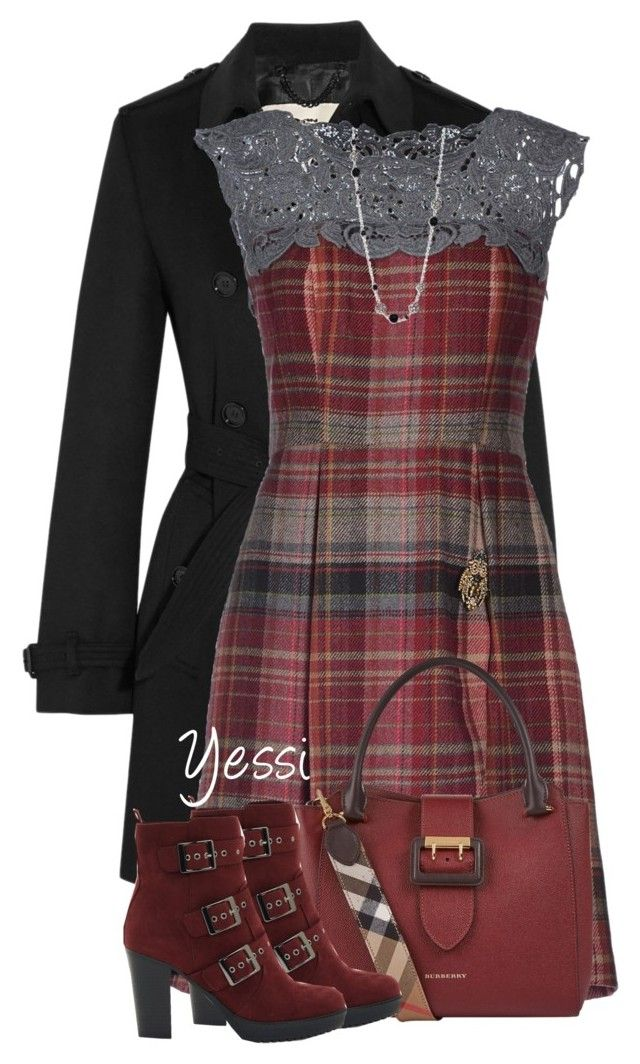 """""""~ 💕 Plaid Dress & Buckle Detail 💕 ~"""" by pretty-fashion-designs ❤ liked on Polyvore featuring Burberry, SCERVINO STREET, New Look and John Hardy"""