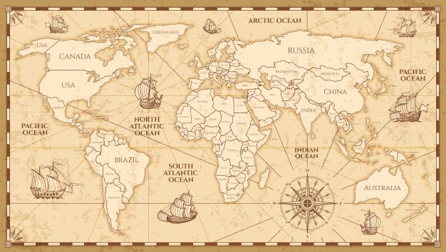 Vector Antique World Map With Countries Boundaries World Map With Countries Antique World Map Vintage Maps