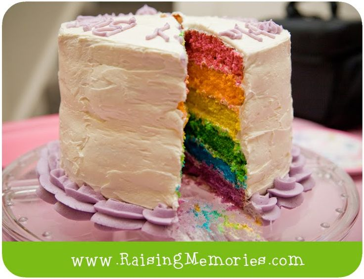 Raising Memories: Tutorial: Extra Easy DIY Rainbow Cake! (with store bought cake mix & frosting!)