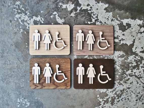 modern unisex restroom bathroom sign wc signage 6 x 8 or 9 x 12 size raised wooden figures simple elegance