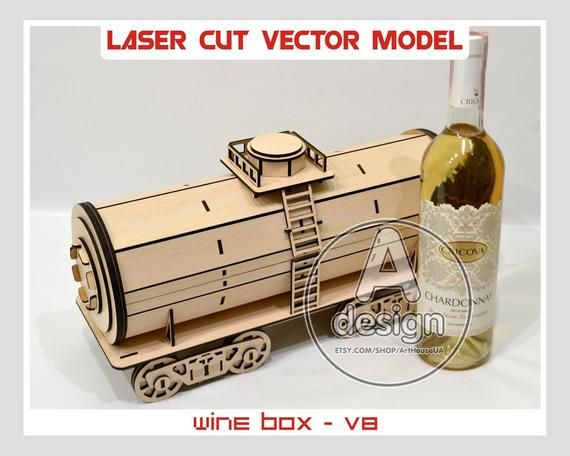 Wine box, Wood wine box, Plywood wine box, Vine box, Wine gift box, wine holder, Laser cut vector plan, Instant download, Cnc file, WBox-8