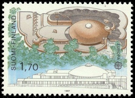 Postage stamp depicting the main building of the Tampere City Library