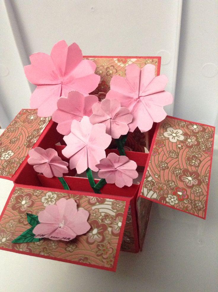 Box card with origami Sakura Daiso paper