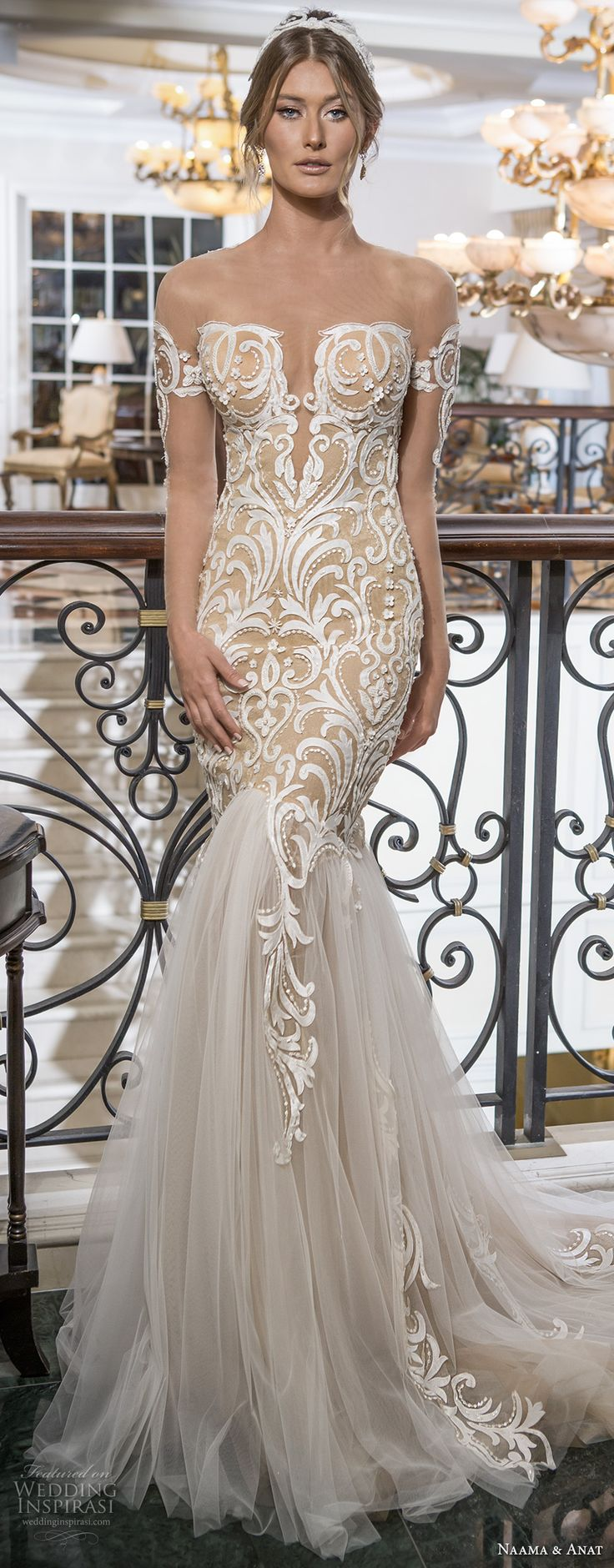 naama and anat 2018 bridal off the shoulder deep plunging sweetheart neckline heavily embroidered bodice tulle skirt gold glamorous mermaid wedding dress lace back chapel train (sensual) mv -- Naama