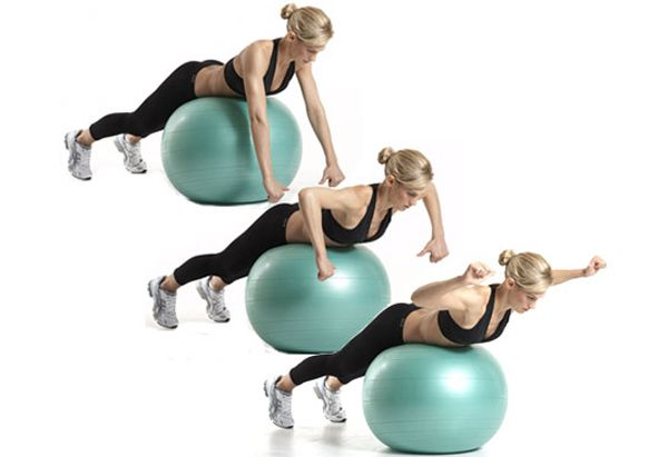 Upper Back: Swiss Ball L Raise || The benefit: This exercise targets your upper back.