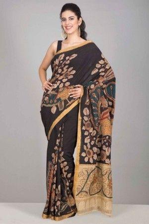 Stunning black mangalagiri cotton kalamkari saree...
