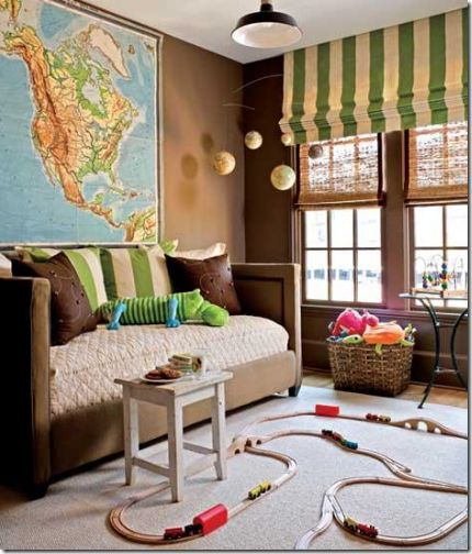 Blinds and drapes: Romans Shades, Color, Plays Rooms, Playrooms, Green Stripes, Window Treatments, Little Boys Rooms, Brown Wall, Kids Rooms