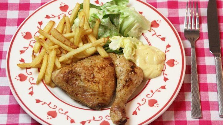 Kippenbillen met sla en handgesneden frietjes | VTM Koken