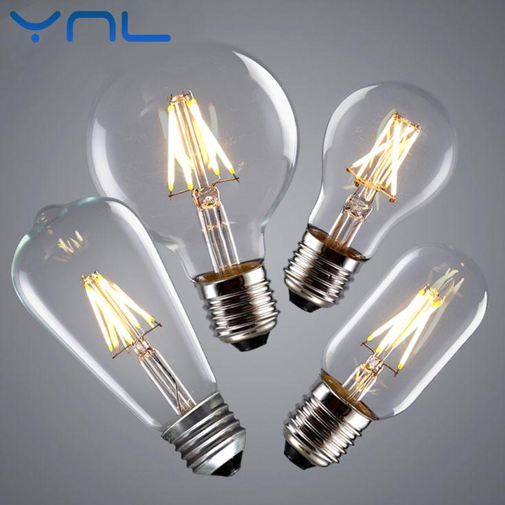Beautiful Aliexpress Buy YNL Vintage LED Edison Bulb E E Real watt W W W W LED Filament Light Vintage LED Bulb Lamp V Retro Candle Light from