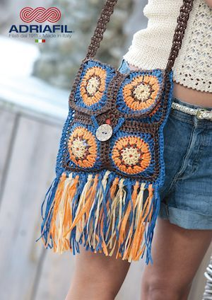 Crochet pattern for a granny square shoulder bag made in Adriafil Rafia a quality natural 100 wood pulp yarn Uses Adriafil Rafia 2 skeins each of the