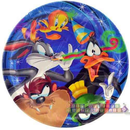 Looney Tunes 'Cosmic' Large Paper Plates (8ct)    Hard To Find Party Supplies