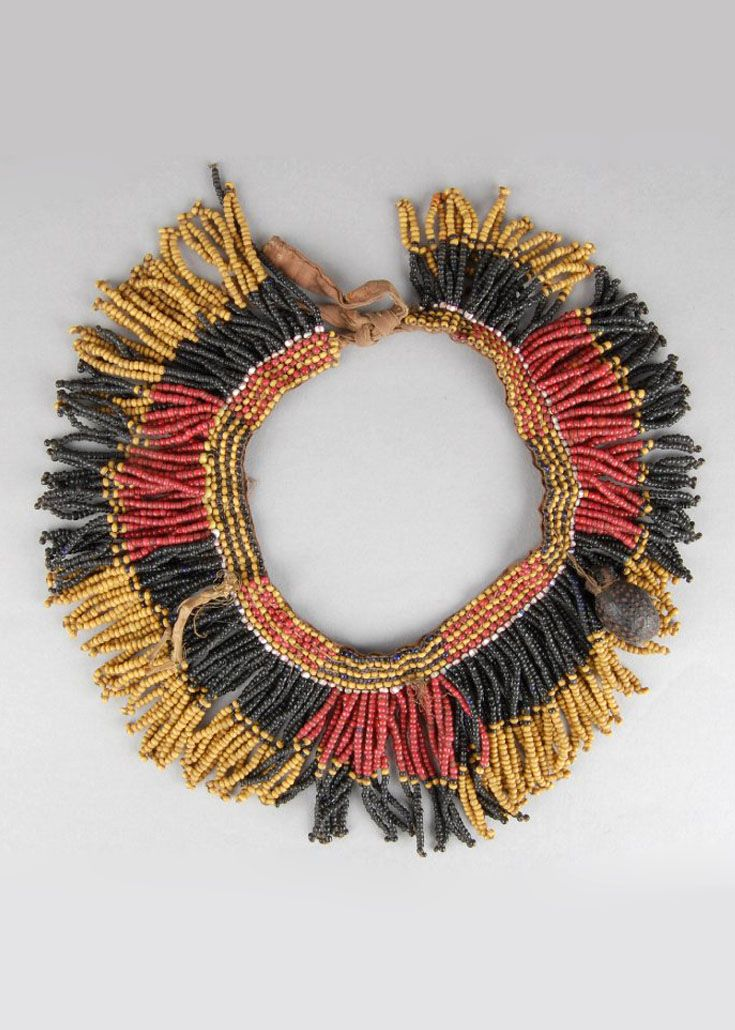 Africa | Necklace made of glass beads with beetle carapace and vegetal attachments | Possibly Ngoni people of southeast-central Africa (Malawi, Mozambique, Tanzania, Zambia | ca. 1954 or earlier