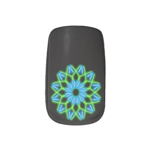 neon flower Minx nails Minx; Nail Art