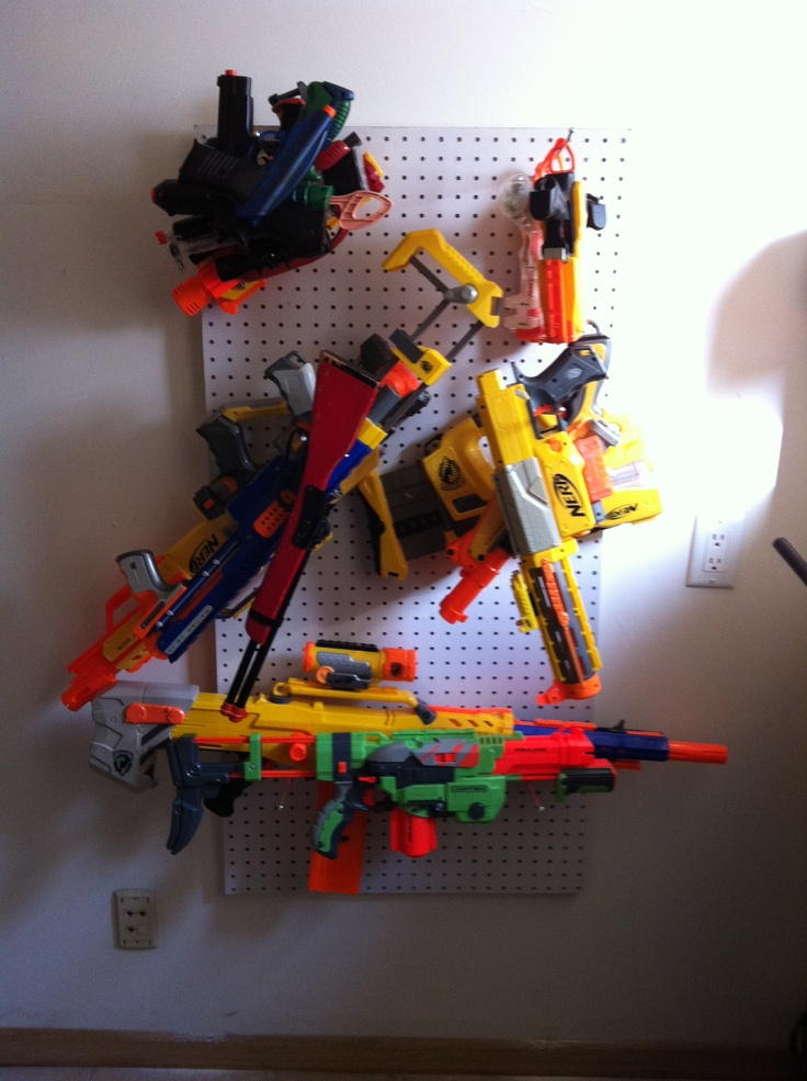 Ultimate Nerf Gun storage! Pegboard! Best $20 that I ever spent!