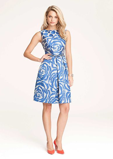 Teri Jon Silk Printed Fit Flare Dress Dressed To