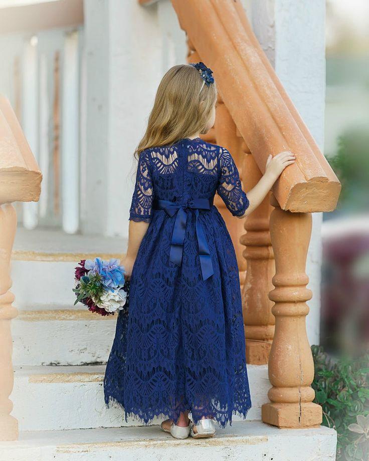 Lace flower girl dress navy blue long sleeve flower girl