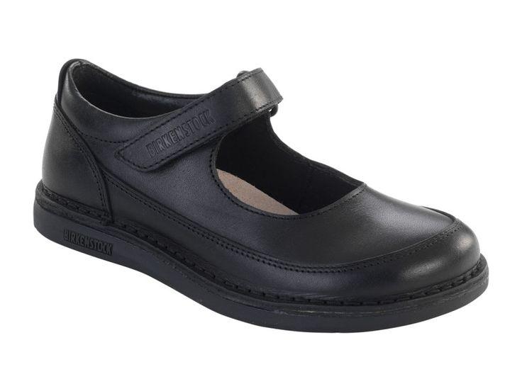 Birkenstock June Natural Leather in Black (Birkenstock Shoe Removable Footbed )