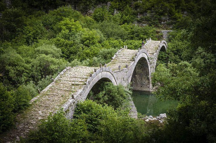 Old triple-arched bridge, Zagóri Greece.