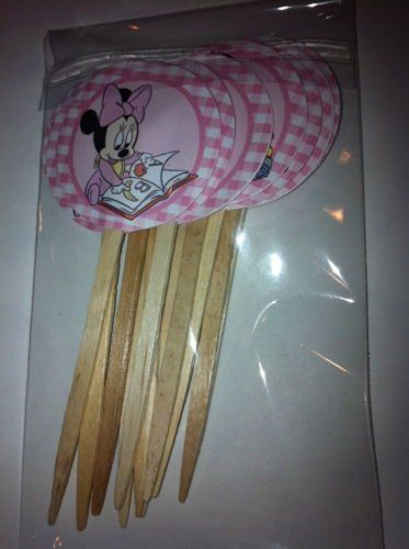 """Baby+Minnie+Mouse+1.5""""+Cupcake+Picks+Cake+Topper+-12+pc"""