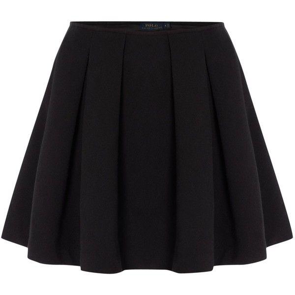 Polo Ralph Lauren Short pleated skirt (2.224.175 IDR) ❤ liked on Polyvore featuring skirts, mini skirts, bottoms, saias, faldas, black, women, black pleated skirt, black pleated mini skirt and pleated miniskirt