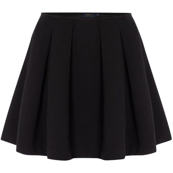 Polo Ralph Lauren Short pleated skirt (£110) ❤ liked on Polyvore featuring skirts, mini skirts, bottoms, faldas, gonne, black, women, black skirt, mini skirt and black pleated skirt