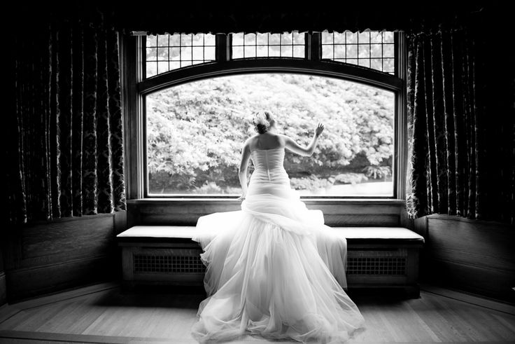 Bridal portrait, wedding dress black and white , window  Cecil Green Park House Bride