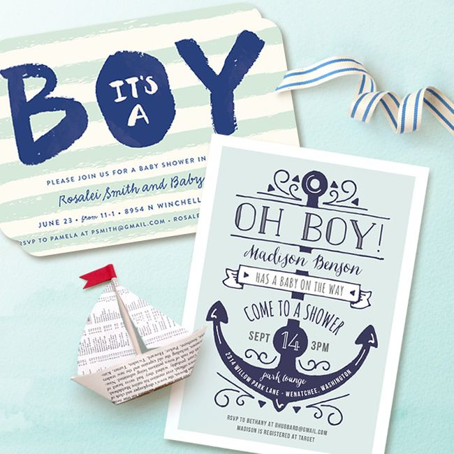 It's a boy! Nautical Themed Baby Shower invitations to welcome a little boy.