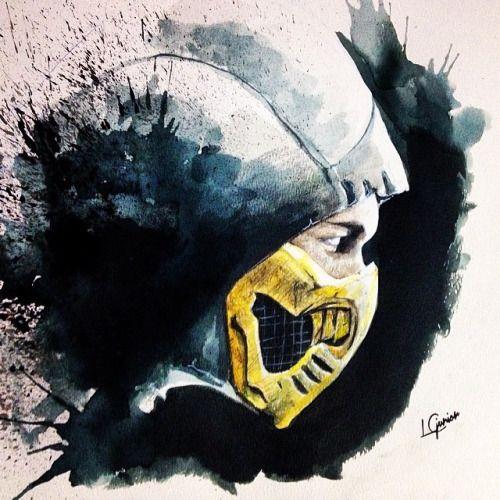 Mortal Kombat X • Scorpion • #watercolor #aquarela #aquarelle #pintura #painting #mkx #mk #mortalkombat #artnerd #artnerdy #artsanity #arts_help #artcollective #phanasu #scorpion    #lcjunior #1lcjunior #fight #fanart #fan_art #splash