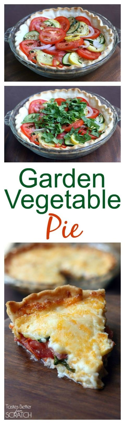 My FAVORITE way to use up zucchini, squash and tomatoes. This Garden Vegetable Pie is easy and delicious!! Recipe on TastesBetterFromScratch.com