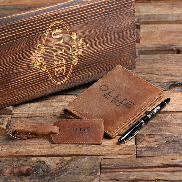 Personalized Engraved Passport Holder, Luggage Tag, Pen and Box