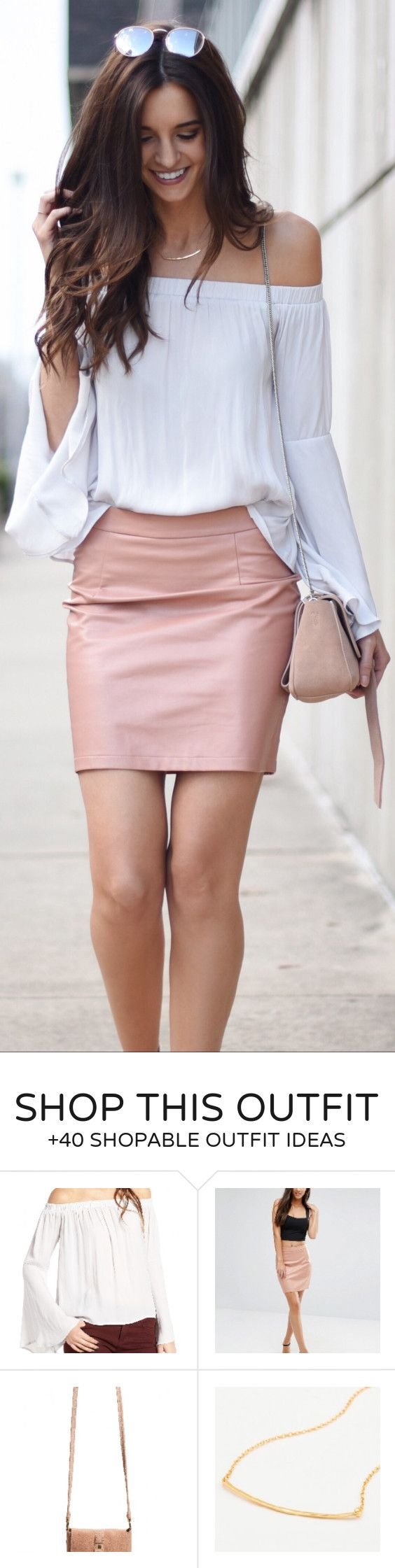 #spring #fashion /  White Off Shoulder Top / Pink Leather Skirt / Beige Bag