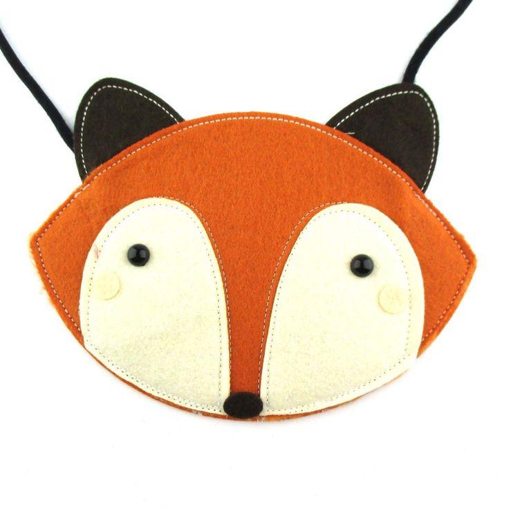 Adorable Fox Wolf Face Shaped Animal Themed Shoulder Felt Bag for Kids in Orange