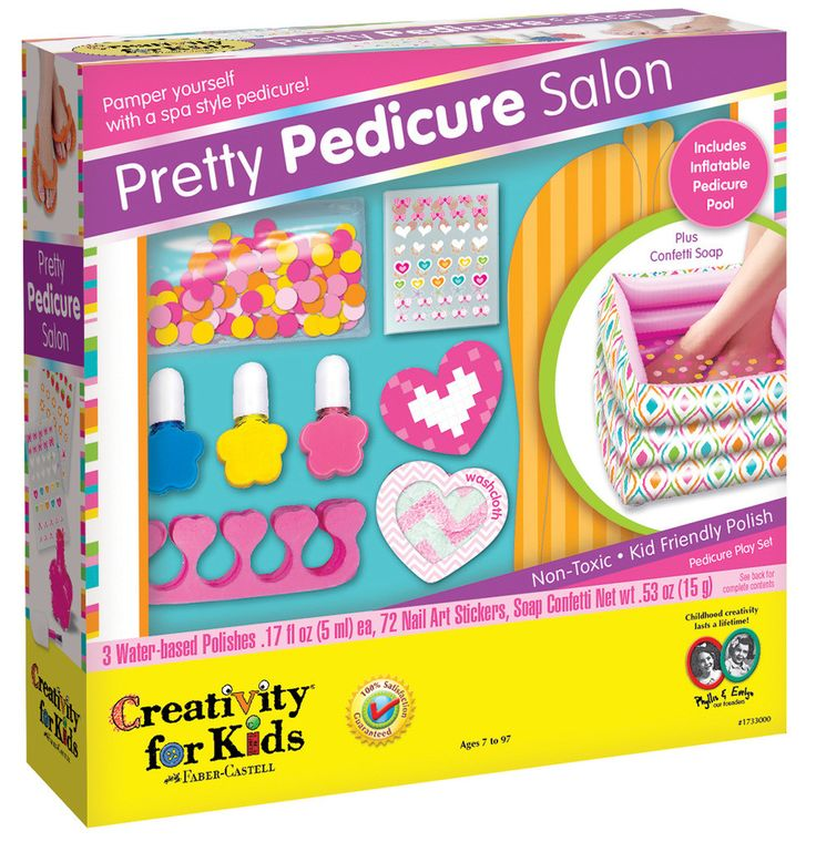 Creativity for Kids Pretty Pedicure Salon Activity Includes (1) inflatable pedicure pool, (3) nail polishes, (100) sticker guides, (1) set of pedicure slippers, (2) toe separators, (1) nail file/buffe