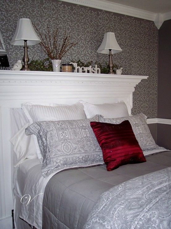 Using a fireplace mantel as a headboard by isabelle07