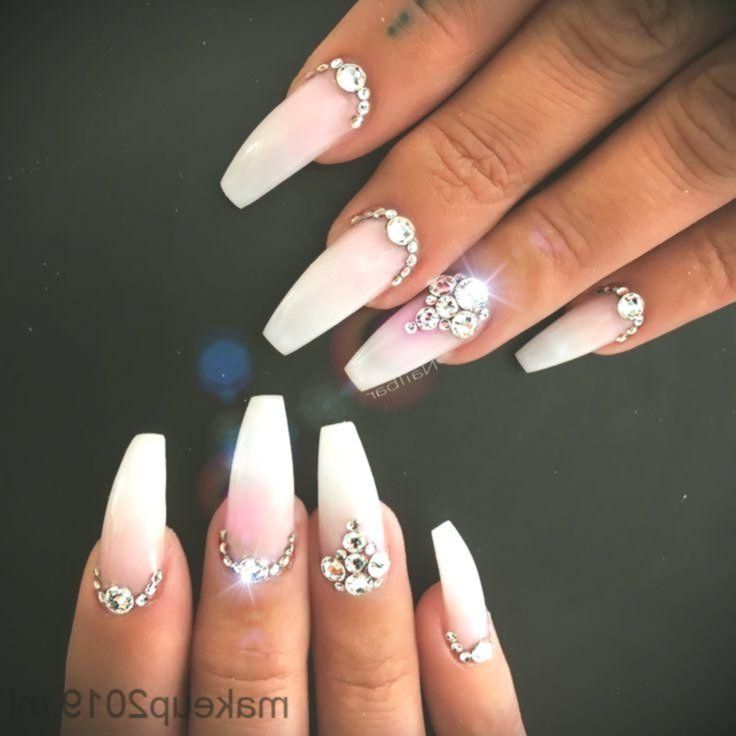 Acrylic Nails Wedding Gems Double Tap If You Like This New Design Pretty Natu Bling Nails Quinceanera Nails Bride Nails