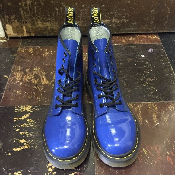 Doctor Martens Blue women's boots worn twice in great condition Dr. Martens Shoes Combat & Moto Boots
