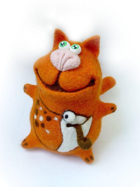 Needle Felted Toy Orange cat Soft Sculpture OOAK by TashaToys