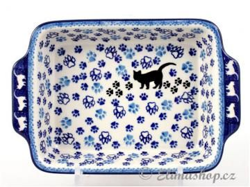 Squared BAKER with handles CAT design .This Traditional Handmade Polish Pottery baking dish  is from ELIMAshop.cz . It was handpainted in Boleslawiec  . Bunzlau . ceramics . stoneware . ovenproof baking dish !  ( zapékací mísa s úchyty malá 23,5/15,5/4,5 cm - ELIMAshop.cz )