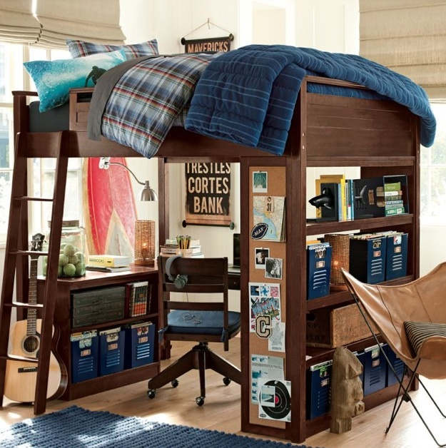 Pb teen loft bed with desk loft bed pinterest teen for Boys loft bedroom ideas