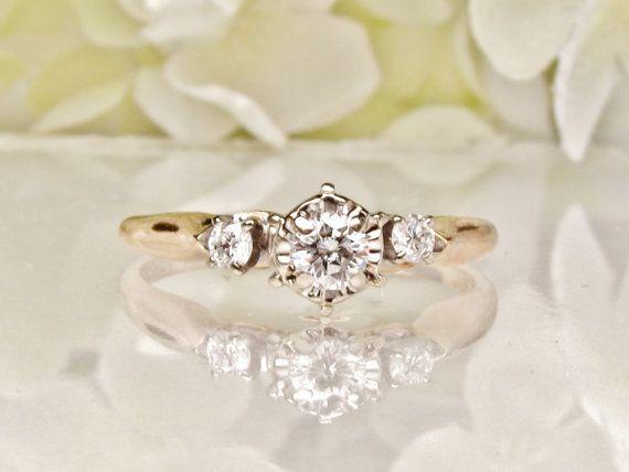 Vintage Engagement Ring Three Diamond Ring Two Tone 14K Gold Vintage Illusion Setting Mid Century Diamond Wedding Ring!