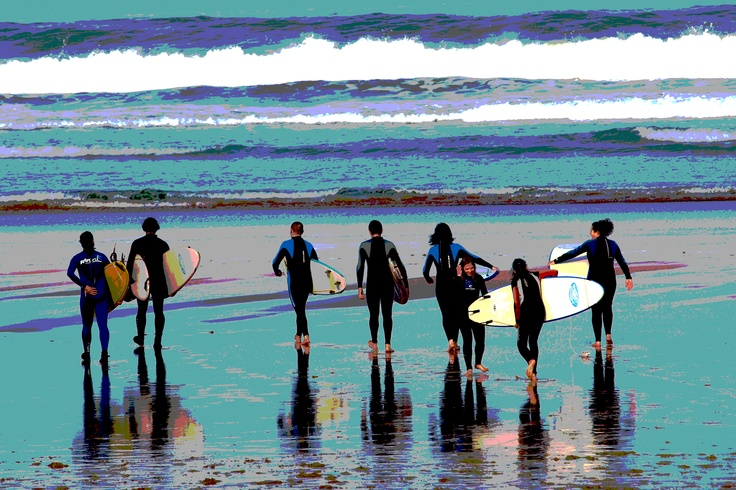 surfers in Zarautz (north of Spain)