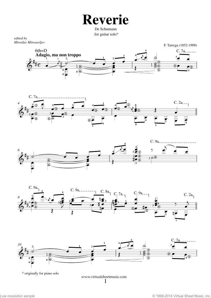 Tarrega Reverie De Schumann Sheet Music For Guitar Solo Pdf Sheet Music Tarrega Digital Sheet Music