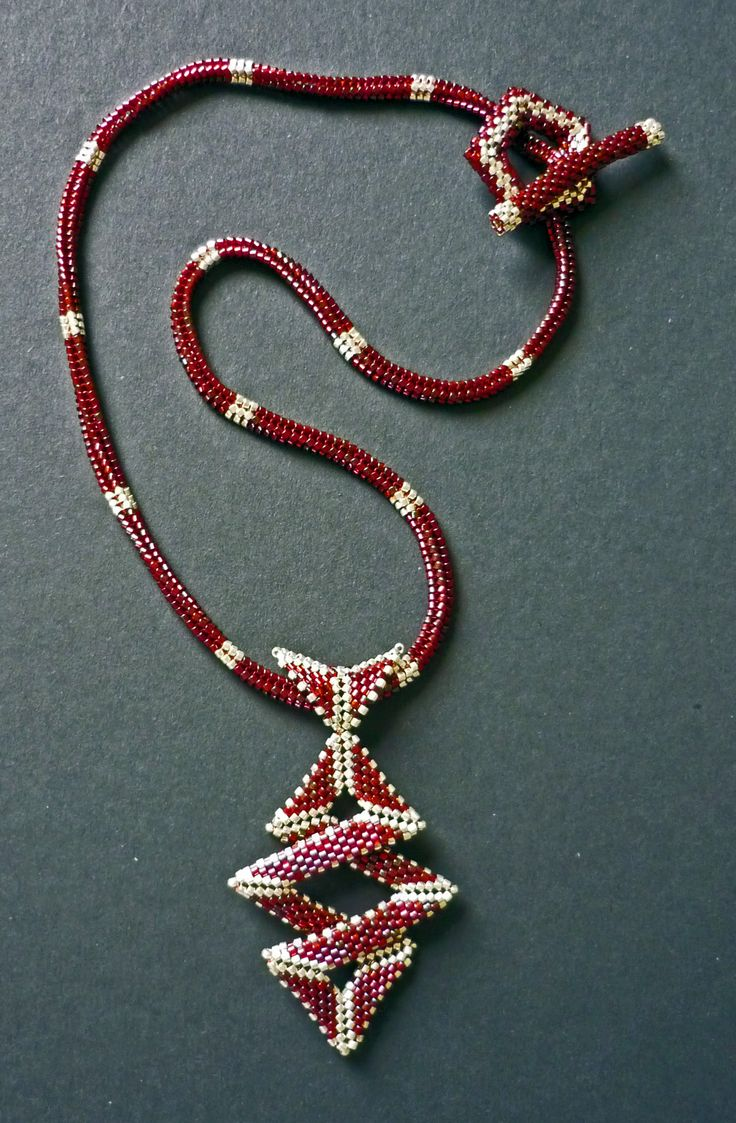 Ziggy pendant (Pattern on Etsy by Mariposa8000) on Herringbone Rope with handmade Toggle using Delica Beads