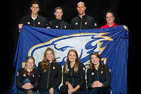 Tera  Van Beilen, bottom second from right, is part of a UBC swimming team heading to London. Top  (left to right): Scott Dickens, Tommy Gossland, Brent Hayden and coach Tom  Johnson. Bottom (left to right): Martha McCabe, Savannah King, Tera Van  Beilen and Heather Maclean. Richard Lam Photograph