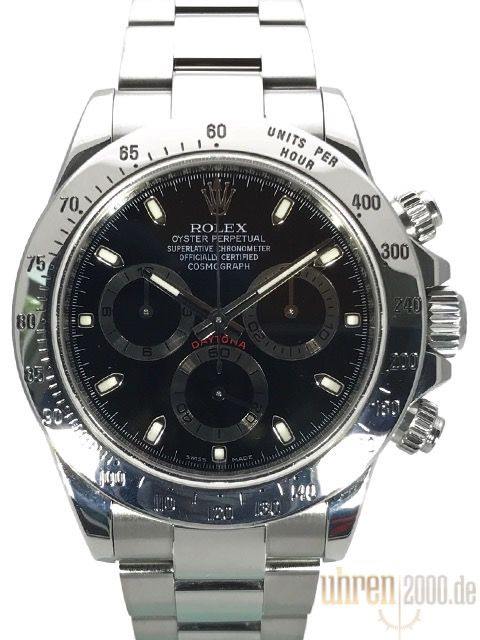 Rolex Daytona Edelstahl 116520 Schwarz gebraucht aus 2010