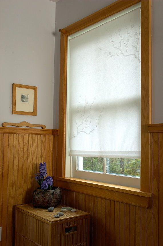 Roller Blind Made With Japanese Shoji Paper With Plum